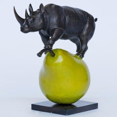 Sculpture - Art - Bronze - Gillie and Marc - Rhino Green Pear - Wildlife - 2019