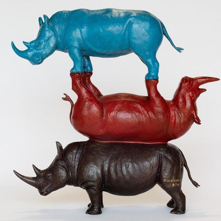 Gillie and Marc Schattner Figurative Sculpture - Sculpture - Art - Bronze - Red - Blue - Gillie and Marc - Three Rhino - Wildlife