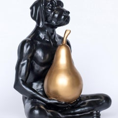 Sculpture - Art - Resin - Gillie and Marc - Dog - Nude - Pear - Black - Gold
