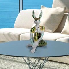 Sculpture - Art - Resin - Gillie and Marc - Mini Rabbit - Unique - Paint - Ferns