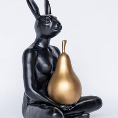 Sculpture - Art - Resin - Gillie and Marc - Rabbit - Nude - Pear - Black - Gold