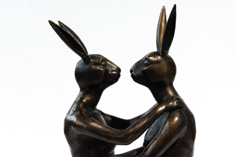 She loved being in love 7/30 - playful, figurative bronze sculpture - Sculpture by Gillie and Marc Schattner