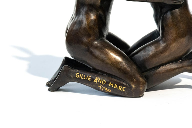 She loved being in love 7/30 - playful, figurative bronze sculpture - Gold Figurative Sculpture by Gillie and Marc Schattner