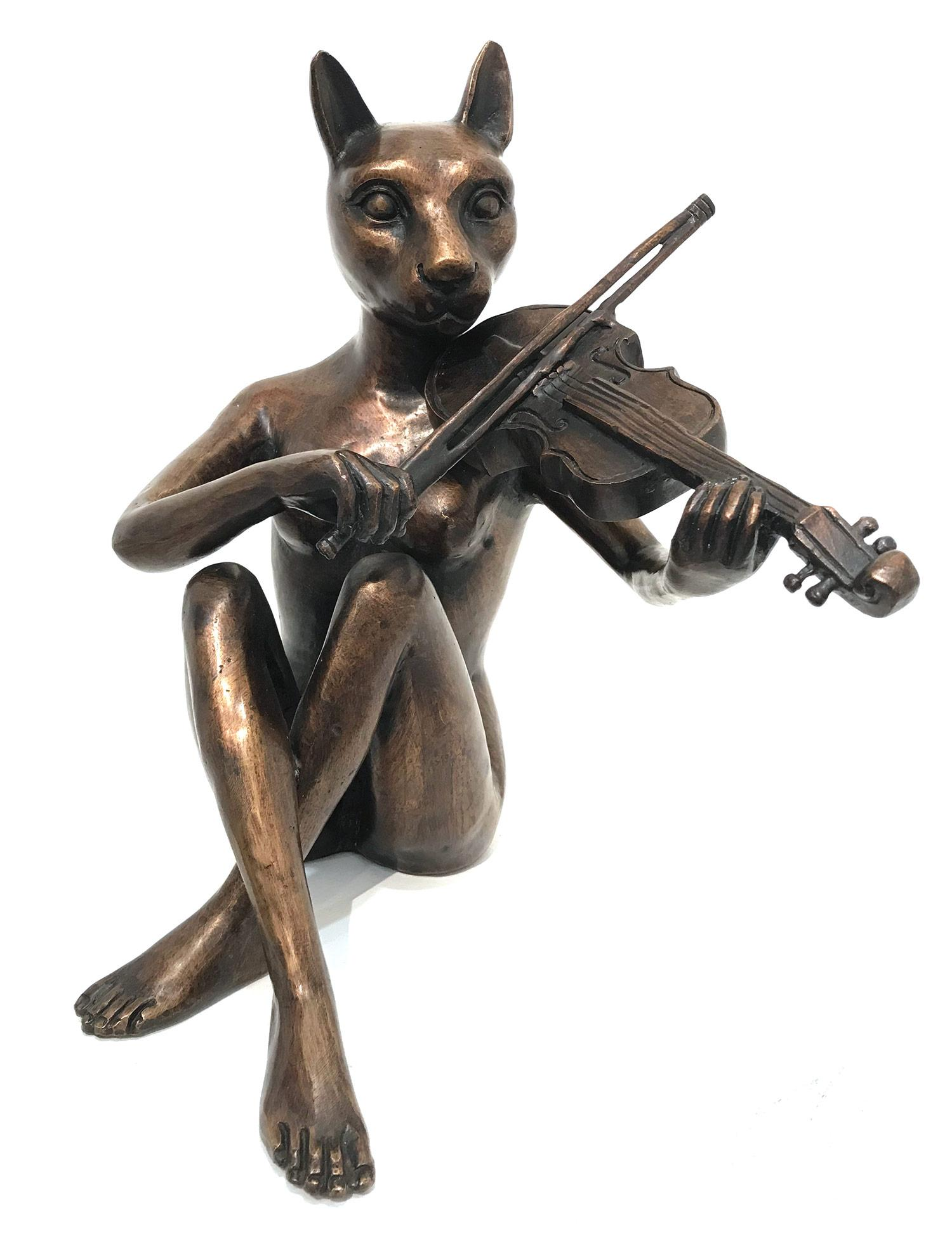 """""""She Only Played the Songs She Wrote"""" Cat-woman with Violin Bronze Sculpture"""