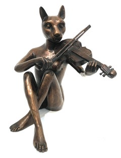 """She Only Played the Songs She Wrote"" Cat-woman with Violin Bronze Sculpture"