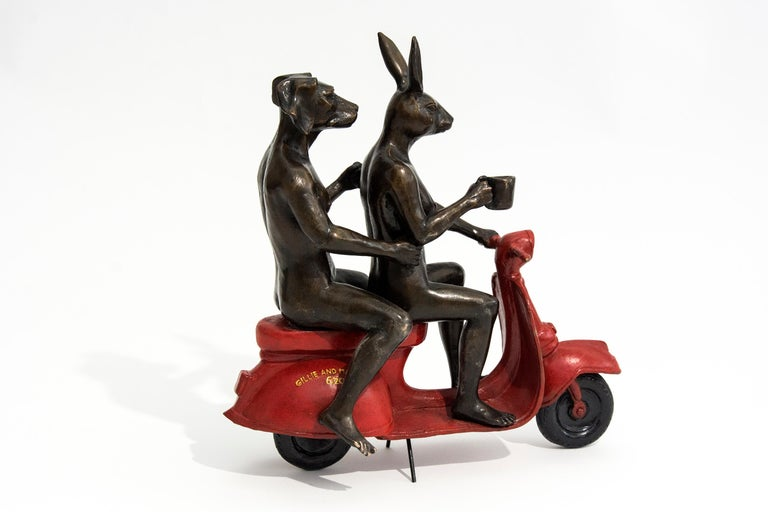 Their morning ride started with coffee and a kiss - Contemporary Sculpture by Gillie and Marc Schattner