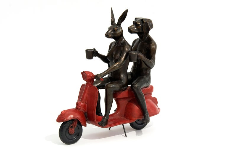 Gillie and Marc Schattner Figurative Sculpture - Their morning ride started with coffee and a kiss