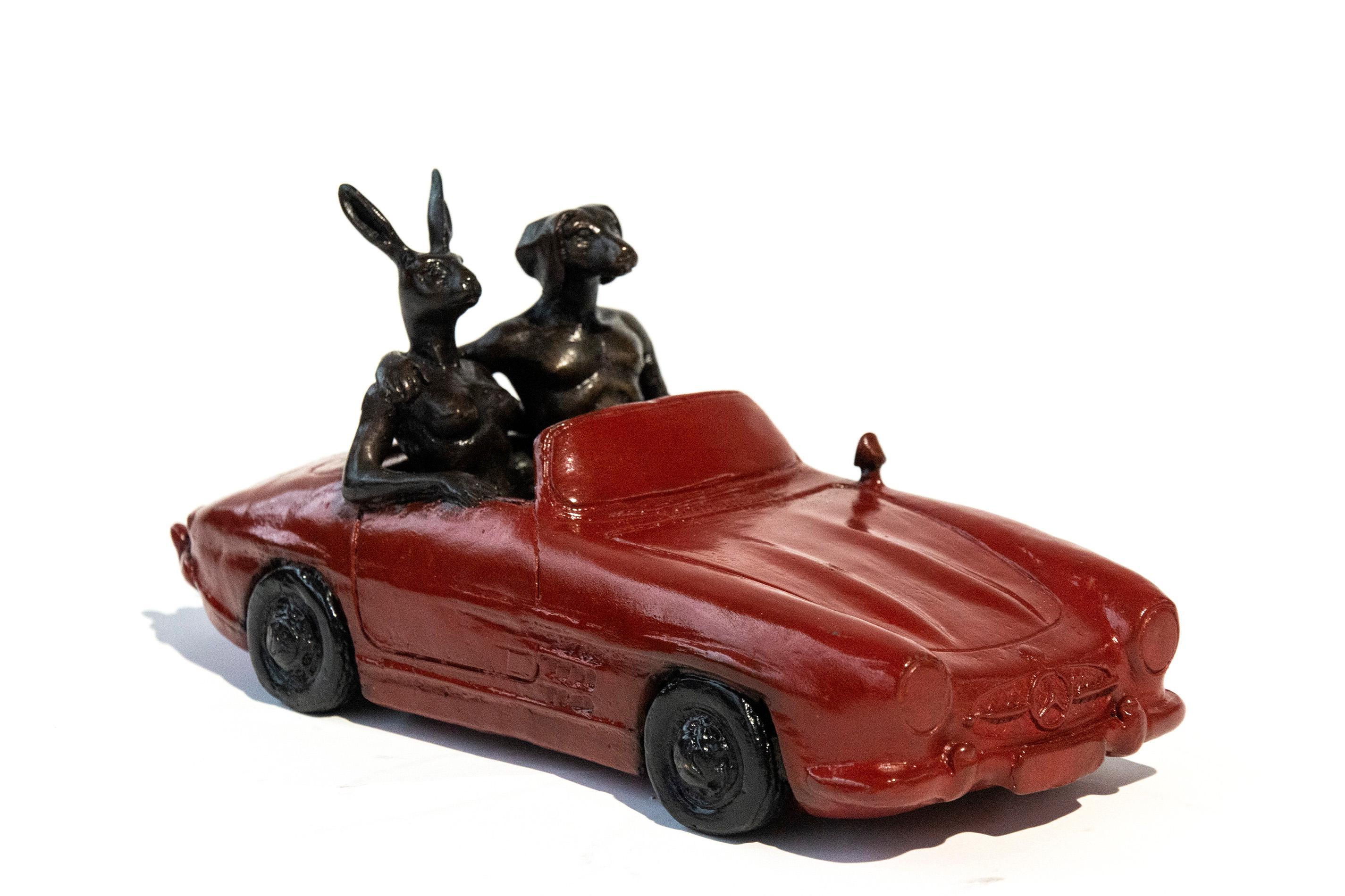 They Loved Breaking the Speed Limit - playful, figurative bronze sculpture