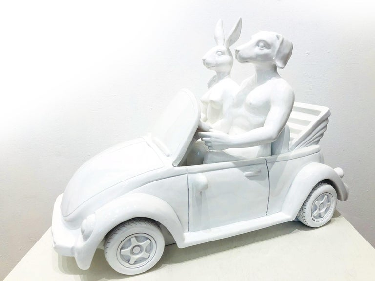 They Loved Driving Their Beetle Convertible Around the Sunny Shores of France - Sculpture by Gillie and Marc Schattner
