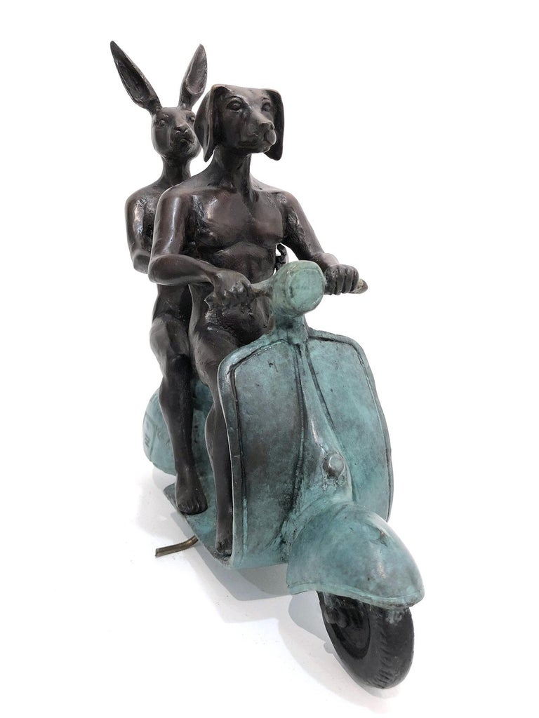 They were the Authentic Vespa Riders in Rome (Bronze with Green Patina) For Sale 4