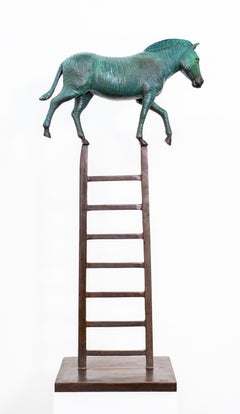 Zebra Reaches New Heights 1/15 - figurative, playful, bronze, tabletop sculpture