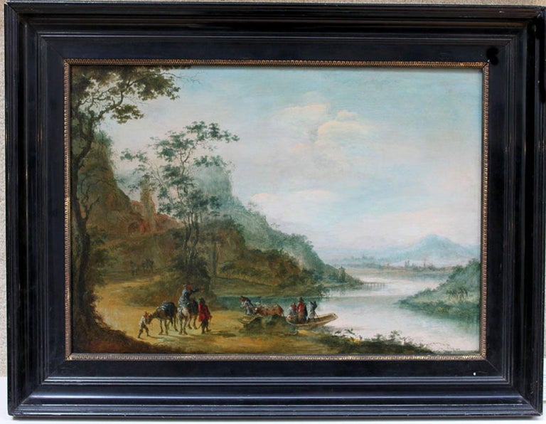 A wooded landscape with figures crossing a river - Painting by Gillis Neyts