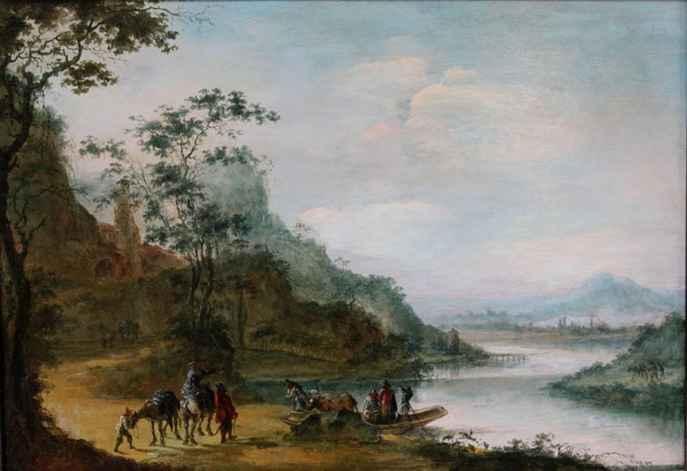 Gillis Neyts Landscape Painting - A wooded landscape with figures crossing a river