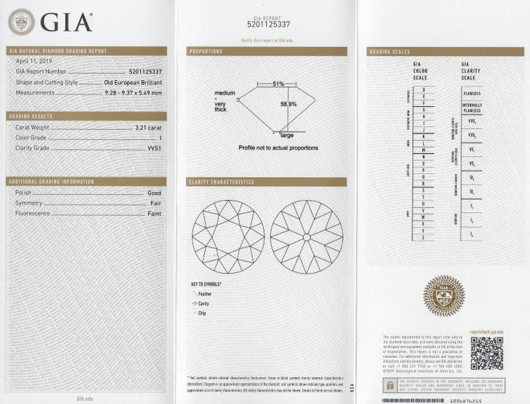 Gillot & Co. 3.21 Carat Old European Diamond Platinum Engagement Ring GIA For Sale 6