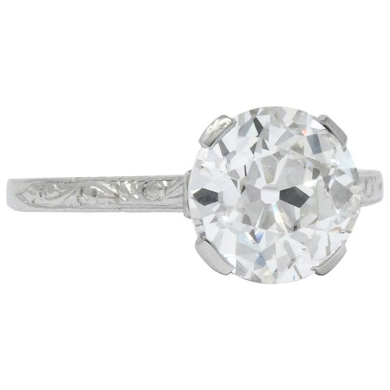 Gillot & Co. 3.21 Carat Old European Diamond Platinum Engagement Ring GIA For Sale