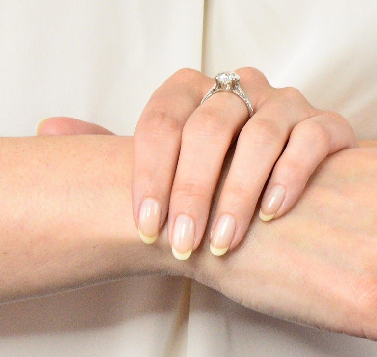 Gillot & Co. 3.21 Carat Old European Diamond Platinum Engagement Ring GIA For Sale 5