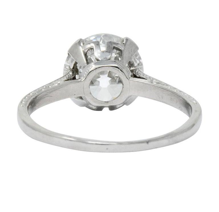 Old European Cut Gillot & Co. 3.21 Carat Old European Diamond Platinum Engagement Ring GIA For Sale