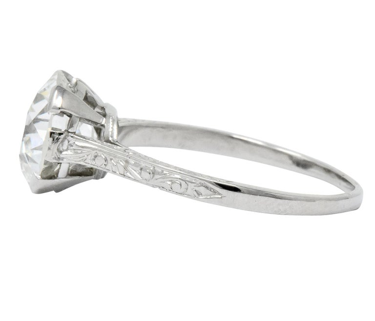 Gillot & Co. 3.21 Carat Old European Diamond Platinum Engagement Ring GIA In Excellent Condition For Sale In Philadelphia, PA