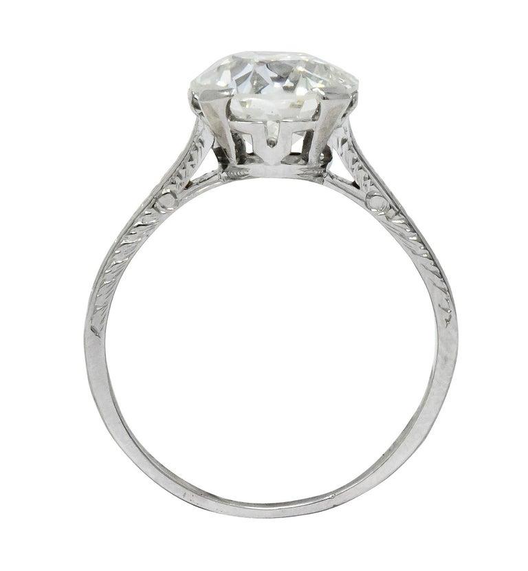 Gillot & Co. 3.21 Carat Old European Diamond Platinum Engagement Ring GIA For Sale 1
