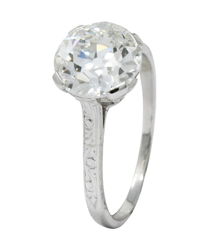 Gillot & Co. 3.21 Carat Old European Diamond Platinum Engagement Ring GIA For Sale 2