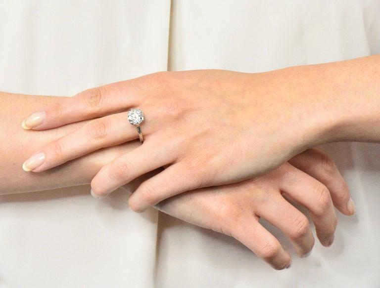 Gillot & Co. 3.21 Carat Old European Diamond Platinum Engagement Ring GIA For Sale 3