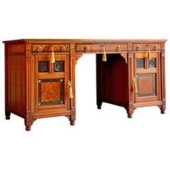 Gillows Desk Gothic Style Antique Victorian 19th Century, circa 1870