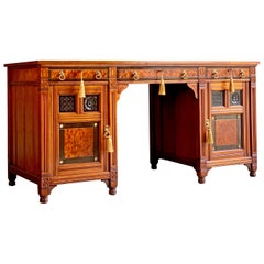 Gillows Desk Gothic Style Antique Victorian, 19th Century, circa 1870