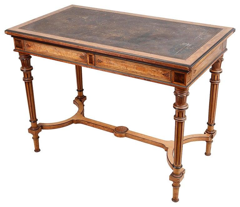 English Gillows Inlaid Writing Table, circa 1860 For Sale