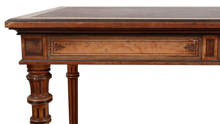 19th Century Gillows Inlaid Writing Table, circa 1860 For Sale