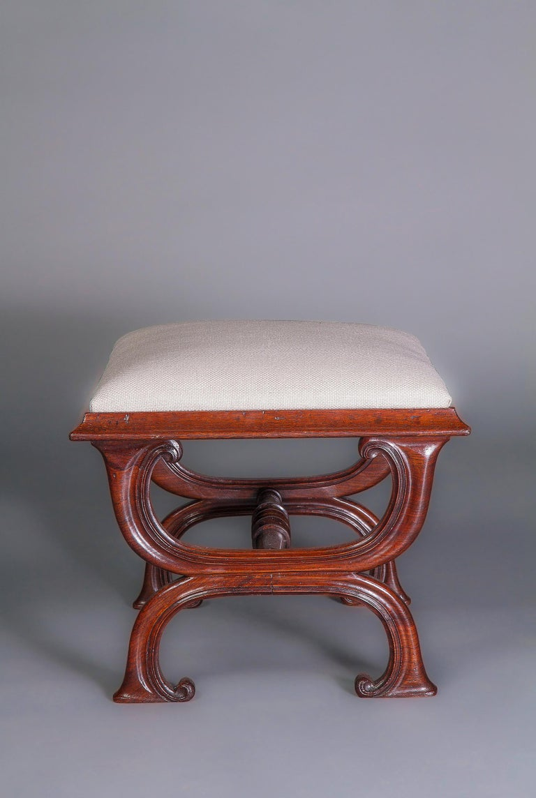 English Gillows Interest: A Good George IV X-Frame Stool, circa 1825-1830 For Sale