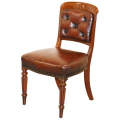 Gillows of Lancaster Regency Chair Fully Restored Brown Chesterfield Leather