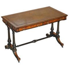 Gillows of Lancester Aesthetic Movement Amboyna Burr Walnut Writing Table Desk