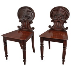 Gillows, Pair of Regency Shell Back Hall Chairs