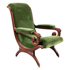 Gillows Regency Mahogany and Green Velvet Spanish Armchair.