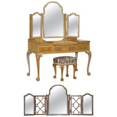 Gillows Vintage Dressing Table & Stool Ornate Claw & Ball Feet Part of Suite