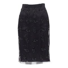 "GILMAR black sequins bead embellished mesh layered knee length skirt IT38 25"""