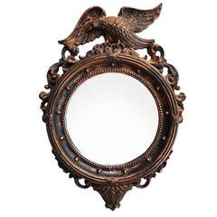 Gilt Admiral Eagle Federal Round Wall Mirror