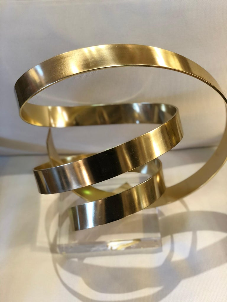 Gilt Aluminum Abstract Sculpture by Dan Murphy In Excellent Condition For Sale In Chicago, IL