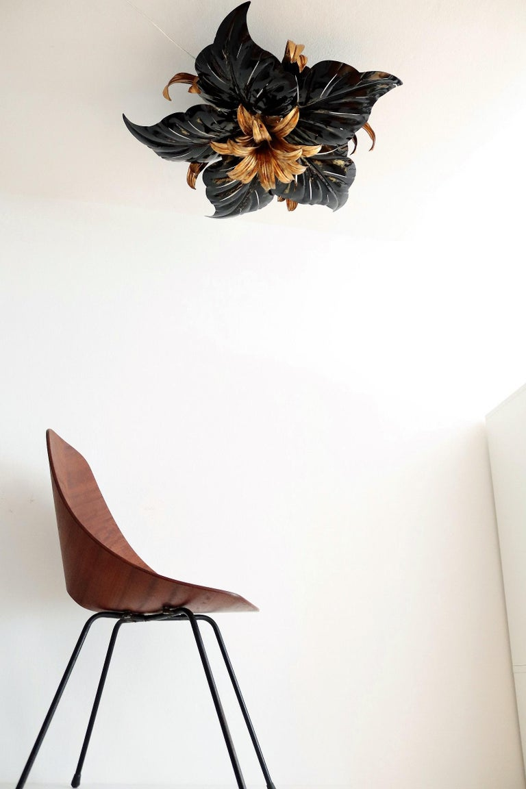 Italian Midcentury Gilt and Black Metal Flush Mount Ceiling Lamp by Kogl, 1970s For Sale 5