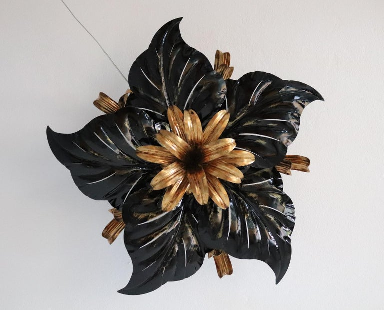 Italian Midcentury Gilt and Black Metal Flush Mount Ceiling Lamp by Kogl, 1970s For Sale 9