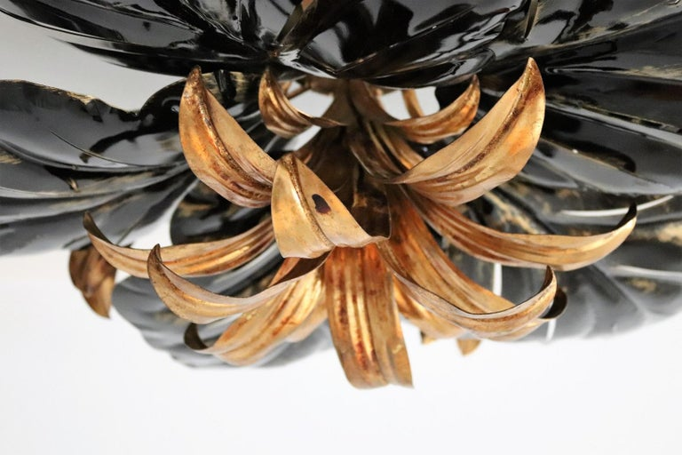 Late 20th Century Italian Midcentury Gilt and Black Metal Flush Mount Ceiling Lamp by Kogl, 1970s For Sale