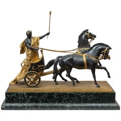 Gilt and Black Patinated Roman Charioteer, Signed H.15Muller, German, circa 1910