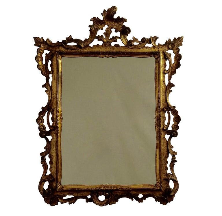 Gilt and Carved Wood Framed Mirror, Italian circa 1800 For Sale 2