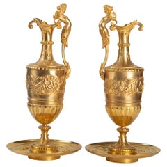Gilt and Chiseled Bronze Ewers, 19th Century