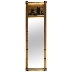 Gilt and Ebonized Wood Trumeau Mirror