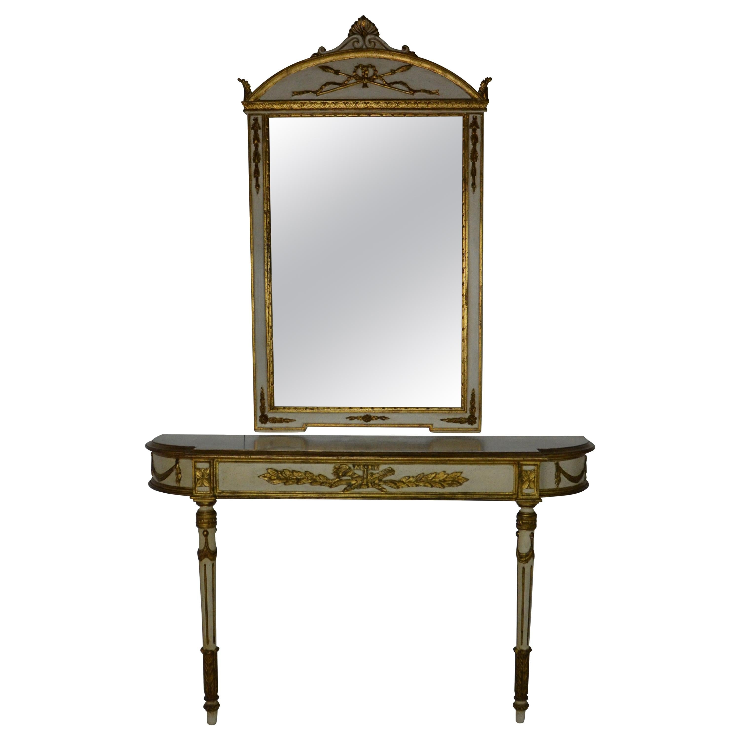 Gilt and Painted Console and Mirror