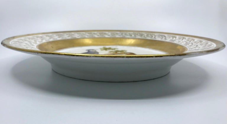 Gilt and Painted Neoclassical French Empire Bird Plate For Sale 4