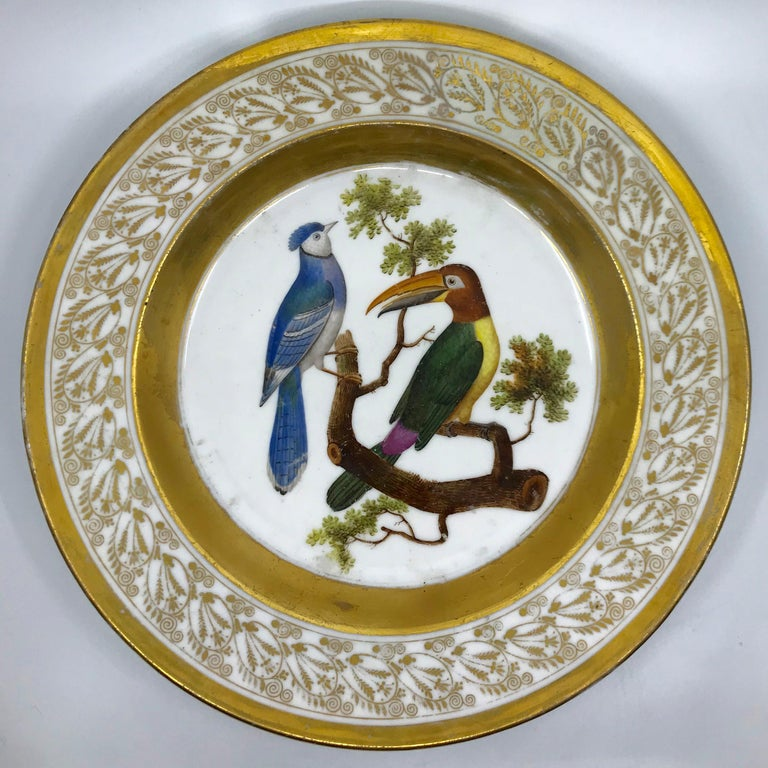Hand-Painted Gilt and Painted Neoclassical French Empire Bird Plate For Sale