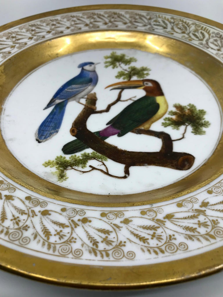 Gilt and Painted Neoclassical French Empire Bird Plate For Sale 1