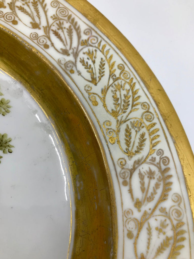 Gilt and Painted Neoclassical French Empire Bird Plate For Sale 2